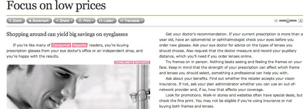 Eyeglasses: Focus on Low Prices: Boston Globe