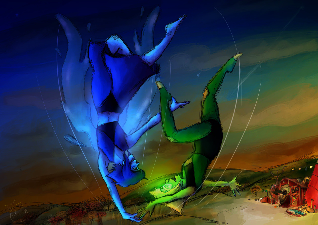 Finally finished ! I had this scene (a fusion dance while flying/falling in the sky) since a while, so here it is ! My first Lapidot digital art ! :)