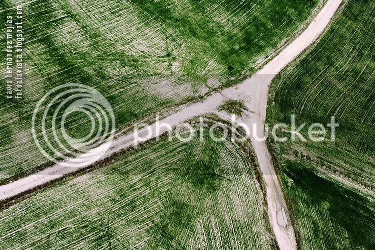 Fotografía realizada desde el aire en vuelo con ultraligero de campos trillados en la zona noroeste de Madrid