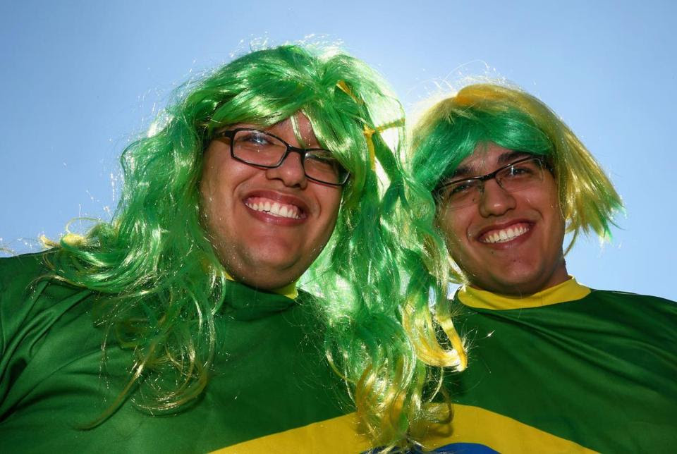 Fans of Brazil before the opening ceremony before the Group A match between Brazil and Croatia at Arena de Sao Paulo on June 12.