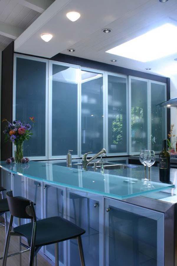 22 Modern and Stylish Glass Kitchen Countertop Ideas ...