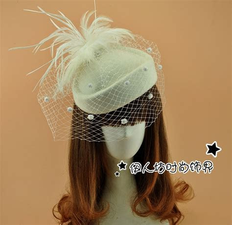 Ivory Wool Bridal Hat With Feather Veil Wedding Hair