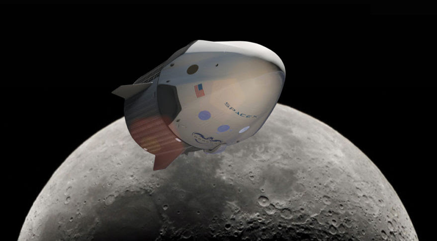 SpaceX announced plans to send two people on a commercial mission around the moon as soon as 2018, aboard a version of its Dragon 2 spacecraft. Credit: SpaceX