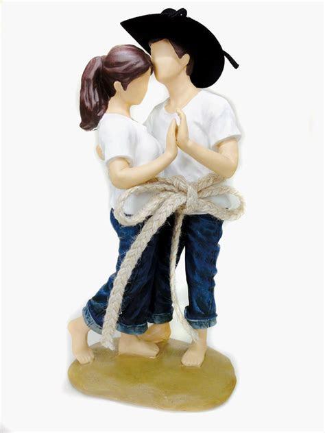 Casual Lasso Of Love Western Wedding Cake Topper Figurine