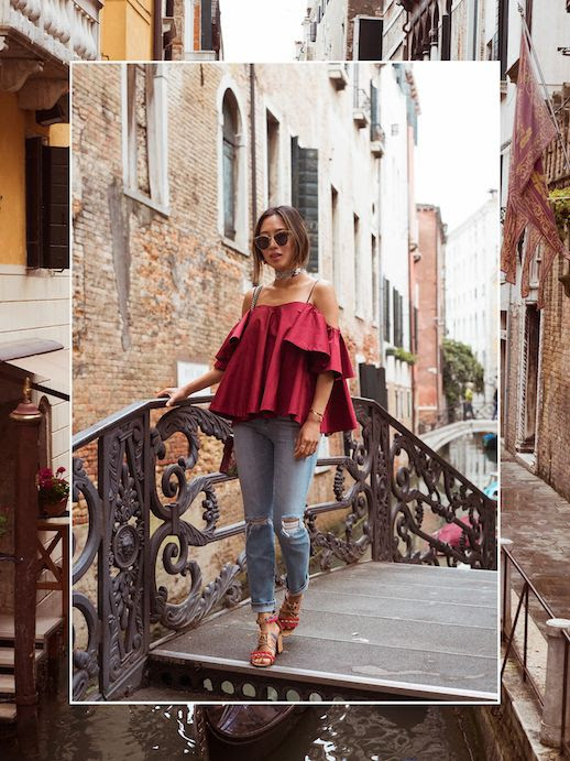 Le Fashion Blog Red Off Shoulder Top Distressed Denim Embellished Sandals Via Song Of Style
