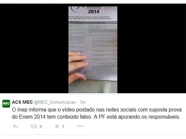 MEC diz que prova do Enem que aparece em vídeo é falsa (Foto: Reprodução/Twitter)