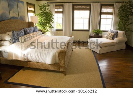 Luxury Home Bedroom With Stylish Furniture And Decor. Stock Photo ...
