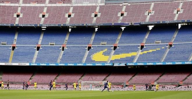 Vista general del partido correspondiente a la séptima jornada de LaLiga Santander entre el Barcelona y Las Palmas disputado en el estadio Camp Nou a puerta cerrada./EFE