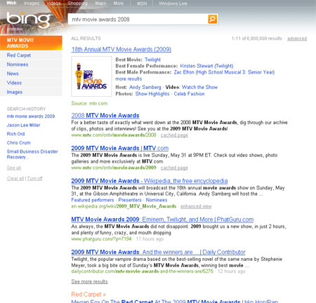 Movie Awards search on Bing