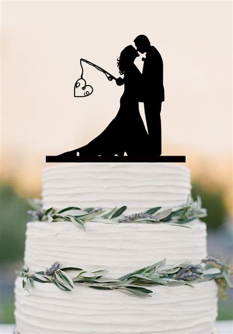 Custom Wedding Cake Topper,Hooked On Love, Personalized