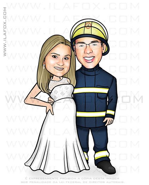 caricatura clássica, caricatura casal, caricatura noivos, caricatura bombeiro, noiva grávida, by ila fox