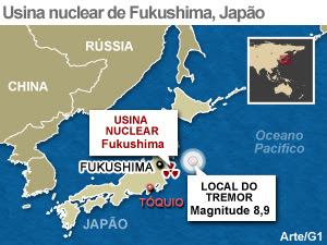 mapa usina fukushima (Foto: Arte G1)