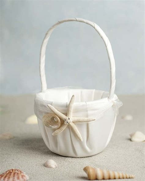 """Starfish & Shell"" Beach Wedding Flowergirl Basket"