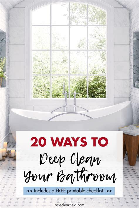 deep cleaning bathroom tasks   printable