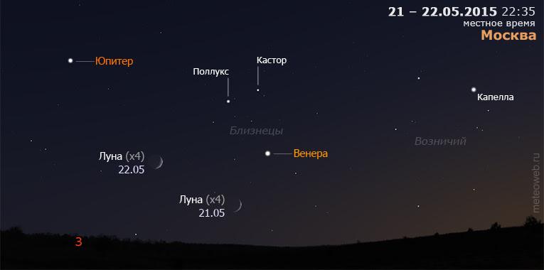 Растущая Луна на вечернем небе Москвы 21 и 22 мая 2015 года