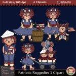 Patriotic Raggedies 1 Clipart - CU