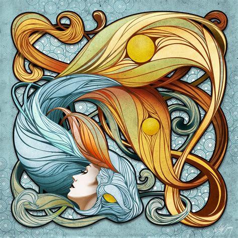 koi fish art nouveau art    jazz pinterest