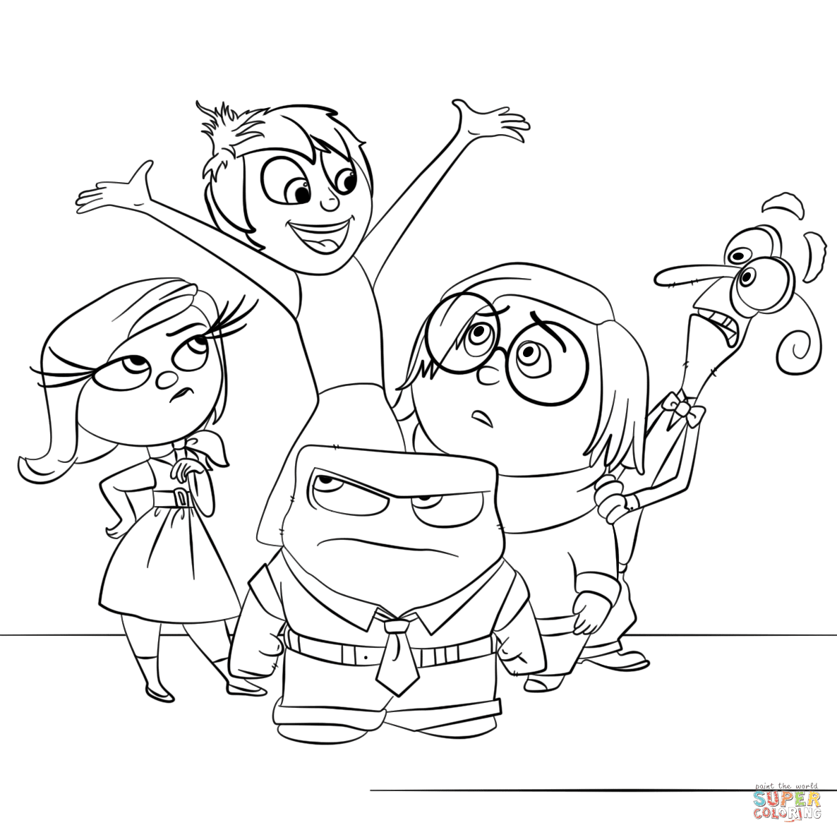 Inside Out All Characters coloring page   Free Printable ...
