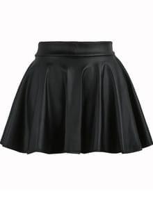 Black Elastic Waist Flare PU Leather Skirt
