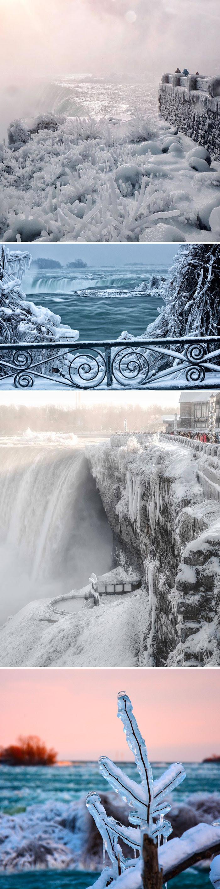 Las cataratas del Niágara parcialmente congeladas