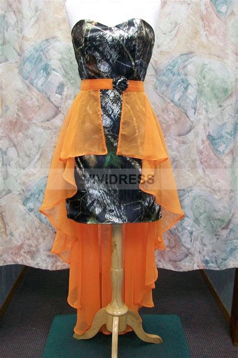 wedding dresses camouflage and orange   Sheath Column Knee