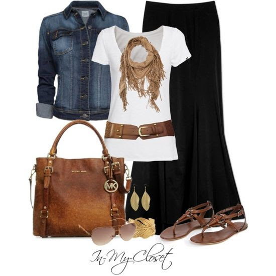 black maxi skirt/white tee/scarf/denim jacket