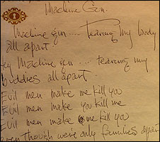 Jimi Hendrix's handwriting