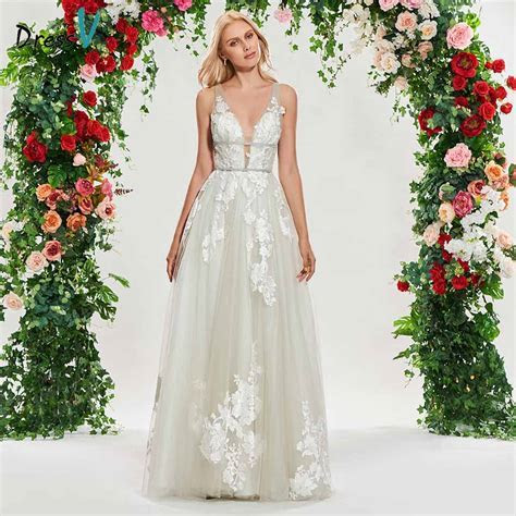 Dressv v neck wedding dress a line sleeveless lace