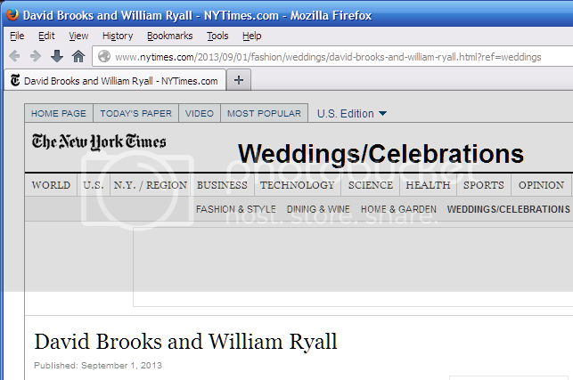 NYT Weddings/Celebrations page: David Brooks and William Ryall