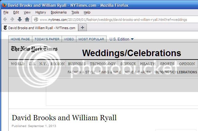 NYT Weddings/Celebrations page: David Brooks and William Ryall