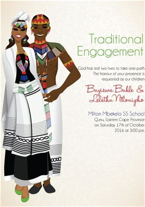 South African Xhosa Traditional wedding invitation Card