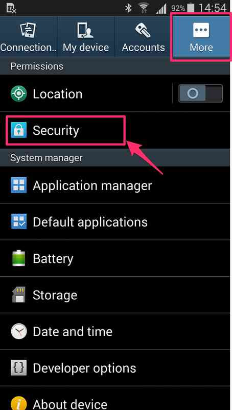 how to change security settings on android phone