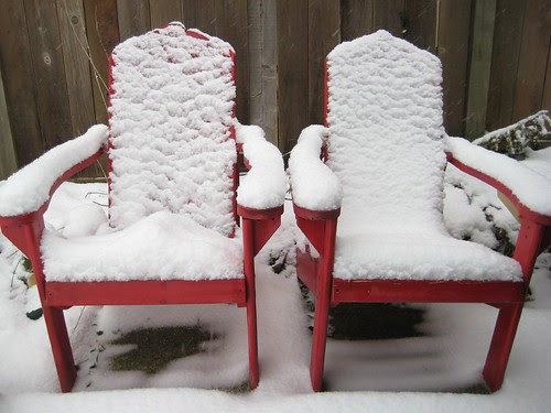 garden seating in winter