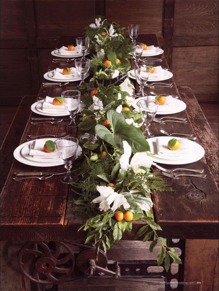 #tablescape perfect centerpiece of leaves and cumquats create forest bower feeling of intimacy for a Shakespearean fairy interlude