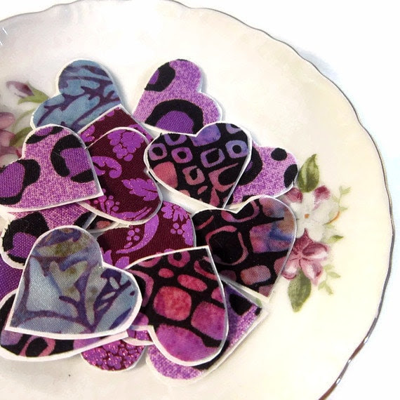 12 Purple Eco Heart Stickers