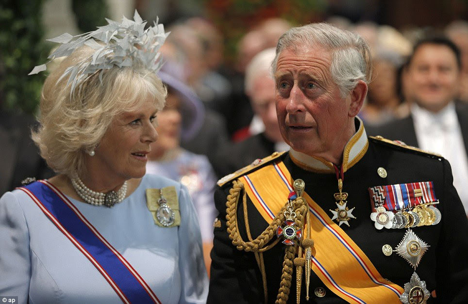 Guests: Prince Charles and Camilla in the Nieuwe Kerk in Amsterdam for the inauguration of King Willem-Alexander