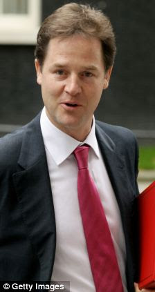 Nick Clegg, the Deputy Prime Minister, leaves Downing Street in London