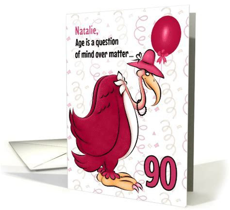 Custom 90th Birthday Humorous Pink Buzzard card (1080016)