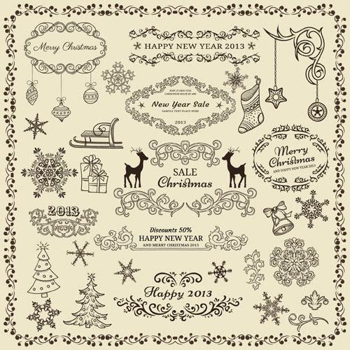 無料素材 クリスマスのデザインに使えるイラストを集めたレトロな