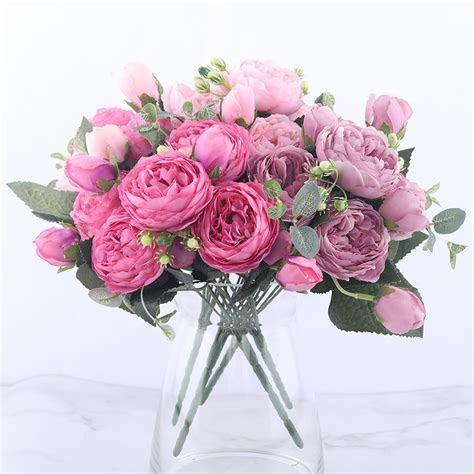 30cm Rose Pink Silk Peony Artificial Flowers Bouquet 5 Big