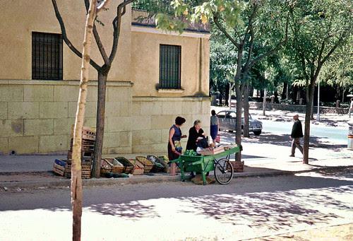 Vendedora ambulante en la Avenida de la Reconquista en Toledo en 1967. Fotografía de John Fyfe