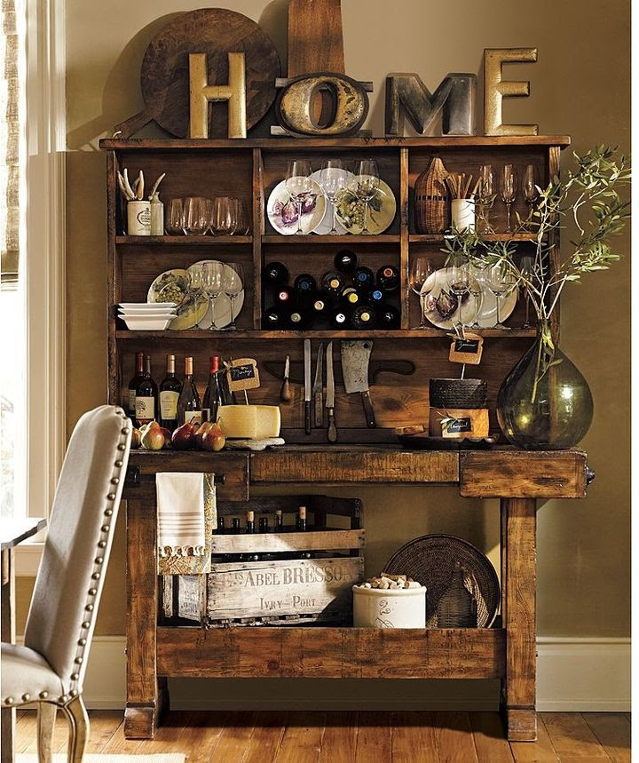 PB's Markham Console (as bar with vintage wine crate storage) ~ screenporch