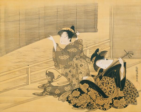 File:'Courtesan Playing the Samisen' by Isoda Koryusai, c. 1785.jpg