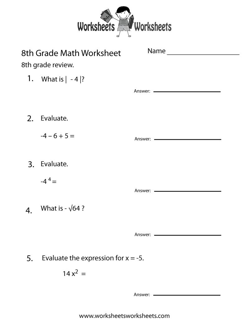 8th Grade Math Worksheets - Free Printable Worksheets for Teachers ...