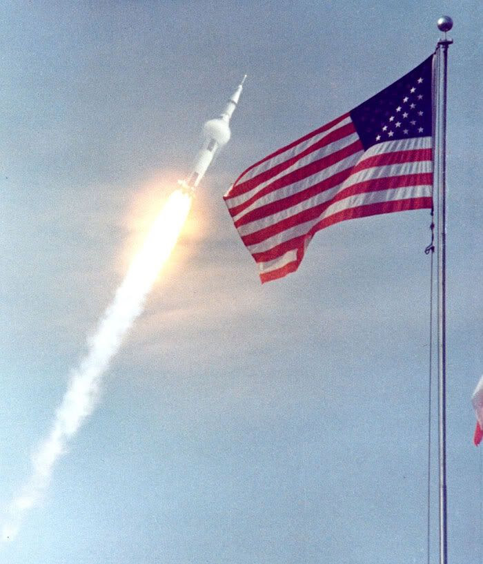 A Saturn V rocket carrying NASA's Apollo 11 spacecraft launches to the Moon on July 16, 1969.