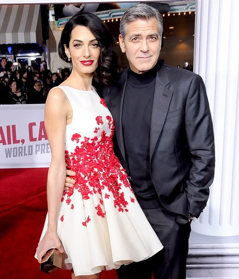 Amal Clooney and George Clooney attend the premiere of Universal Pictures' 'Hail, Caesar!' at the Regency Village Theatre on Feb. 1, 2016, in Westwood, California.
