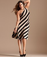 INC International Concepts Plus Size Dress, One Shoulder Striped A-Line