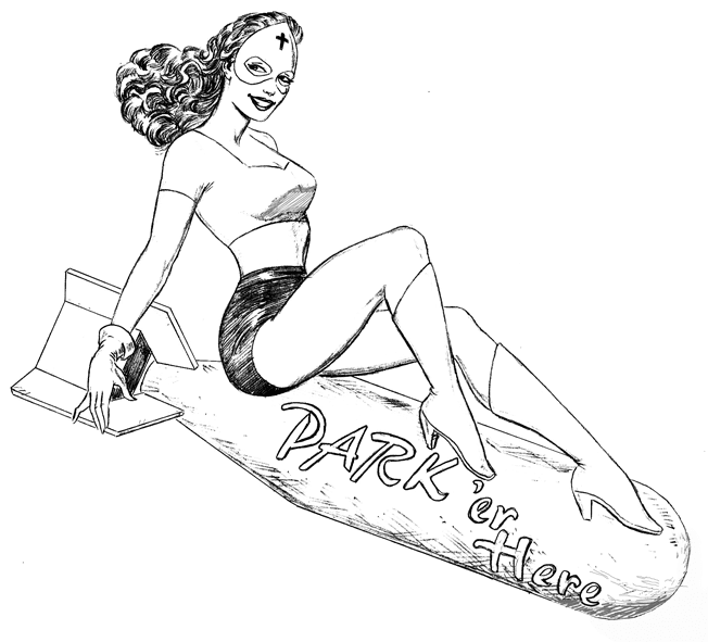 Pin up girl on bomb