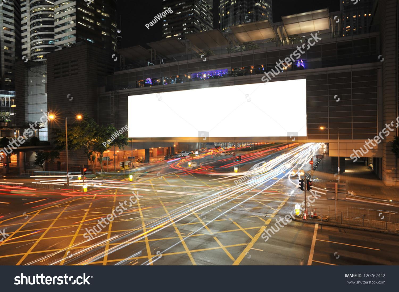Big Empty Billboard Night City Busy Stock Photo 120762442 ...