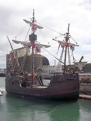 A replica of the Santa María, Columbus' flagsh...